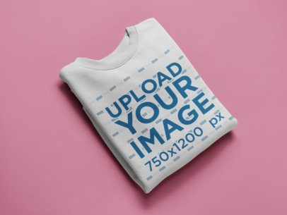 Flat Lay Crewneck Sweater Mockup on a Solid Color Surface 24214