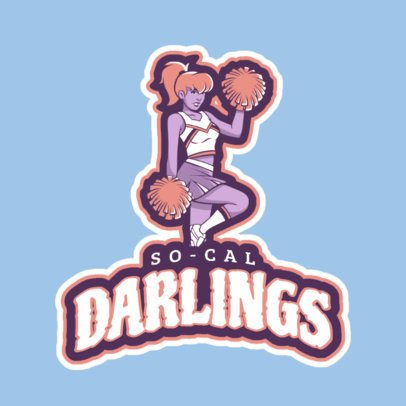 Cheerleading Logo Design Template with Cheerleader with Pom Poms Clipart 1595c