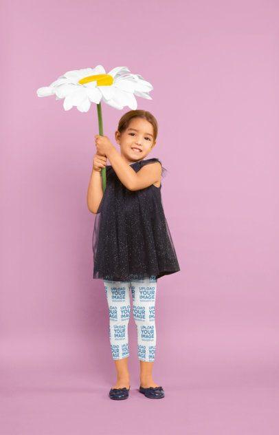 Leggings Mockup of a Little Girl Holding a Big Flower 23920