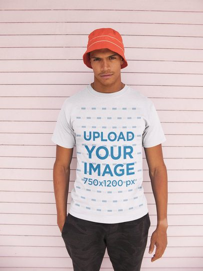 T-Shirt Mockup of a Man Wearing a Bucket Hat 21059