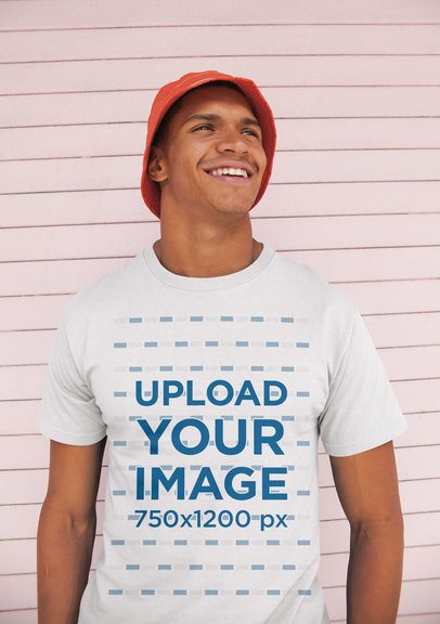 Mockup of a Man Wearing a Tee and a Bucket Hat 21061
