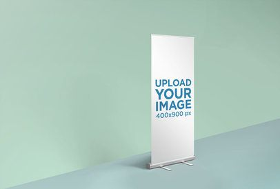 Render Roll-Up Banner Mockup Featuring a Simplistic Background 24514