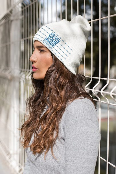Beanie Mockup Featuring a Serious Brunette Woman 24591