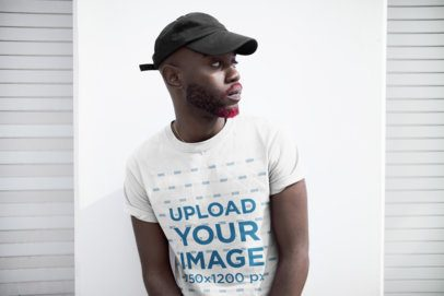 Mockup of a Cool Man Wearing a Tee and a Hat 21677