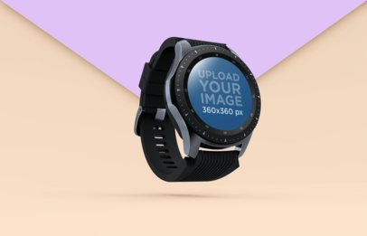 Smartwatch Mockup Floating over a Background with Two Colors 25035