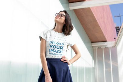 T-Shirt Mockup Featuring a Pretty Woman with a Skirt Posing 18255