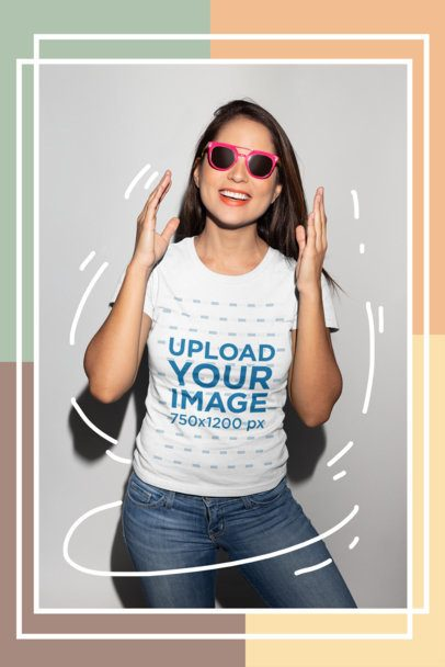 T-Shirt Mockup Featuring a Smiling Girl with Sunglasses 18656