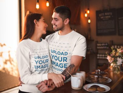 Sweater and T-Shirt Mockup of a Man Hugging His Girlfriend 19007