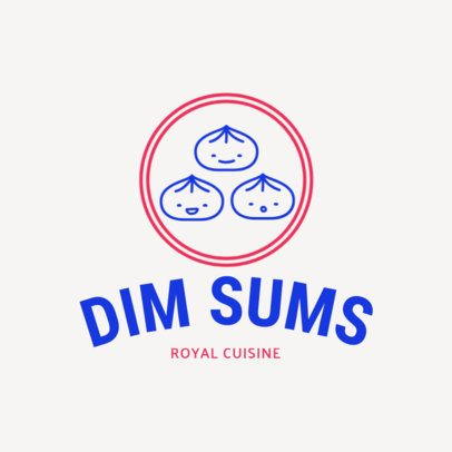 Chinese Food Logo Template with Dumpling Clipart 1667e