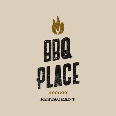BBQ Restaurant Logo Maker with Fire Clipart 1675b