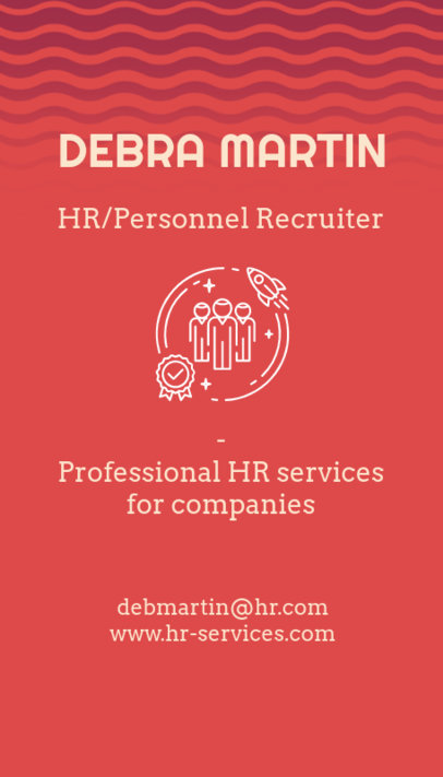 Vertical Business Card Template for a Personnel Recruiter 672b