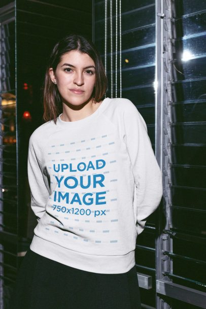 Crewneck Sweater Mockup of a Girl by a Window at Night 18708