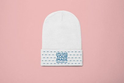 Flat Lay Beanie Mockup on a Solid Background 24637