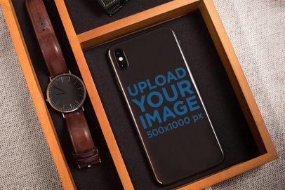 Phone Sticker Mockup Featuring an Elegant Wooden Box 25210