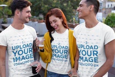 T-Shirt Mockup of a Group of Friends Drinking and Laughing 25252