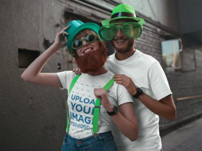 Tee Mockup of Two Friends Celebrating St Patric's in Costumes 19567