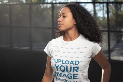 T-Shirt Mockup of a Woman with Afro Kinky Curly Hair 24094