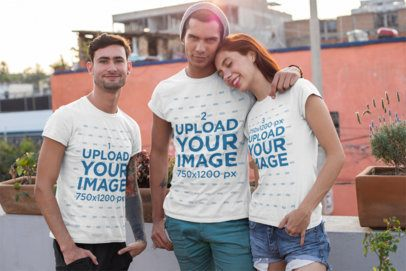 T-Shirt Mockup Featuring Three Cool Friends 25256