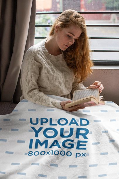 Blanket Mockup Featuring a Cozy Woman Reading a Book 24682
