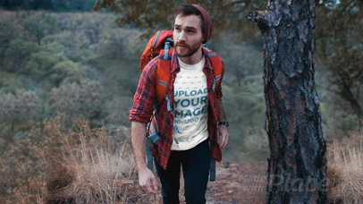 T-Shirt Video Mockup of a Relaxed Hiker with Parallax Effect 26065