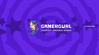 YouTube Banner Template for a Gamer Girl YouTube Channel 408d