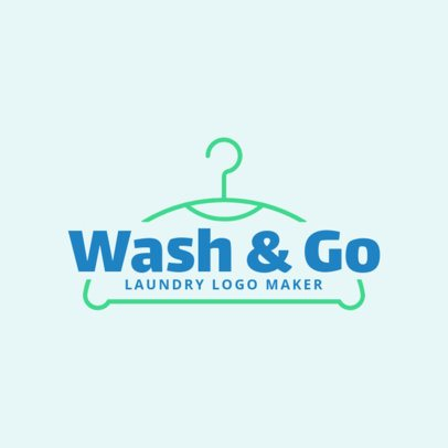 Laundromat Logo Design Template with a Hanger Icon 1774b