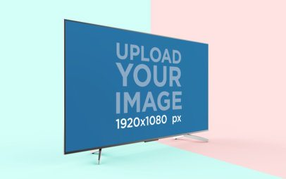 TV Mockup Featuring a Flat Screen with a Bicolor Background 26123