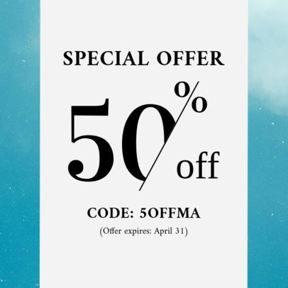 Coupon Design Template with Bold Letters 1019d