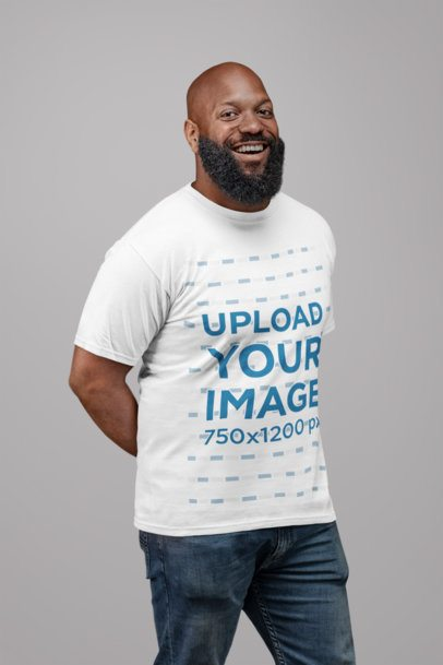 Mockup of a Smiling Man with a Big Beard Wearing a T-Shirt 21523