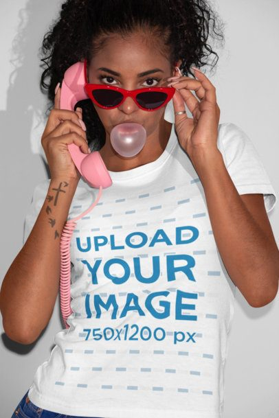 T-Shirt Mockup of an Cool Woman Blowing Bubble Gum 21897