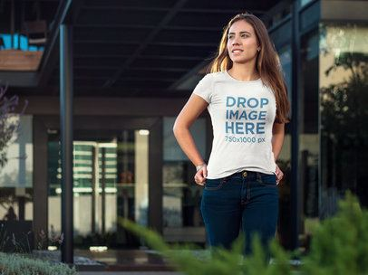 T-Shirt Mockup of a Stylish Woman Walking Around 6596a