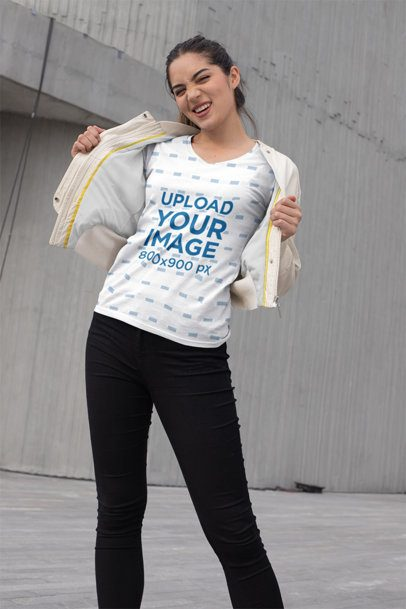 Mockup of an Edgy Girl Showing off Her Sublimated V-Neck Tee 24933