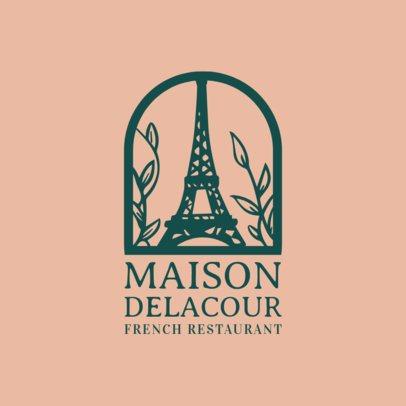 Fancy Restaurant Logo Maker with an Eiffel Tower Clip Art 1810d