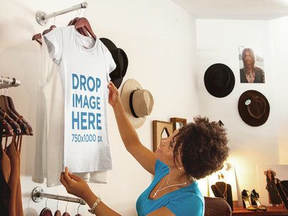 T-Shirt Mockup Featuring a Woman Shopping at a Boutique 6565a