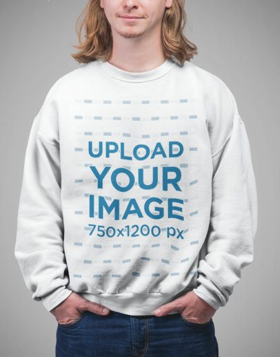 Sweater Mockup Featuring a Cropped Face Blonde Man with Long Hair 23089