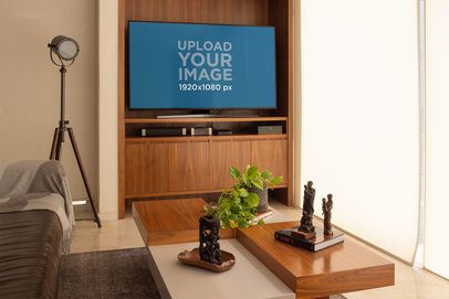 TV Mockup Featuring a Cool Relaxing Living Room 25810