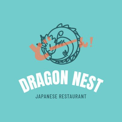 Japanese Logo Design Template with Dragon Icon 1820a