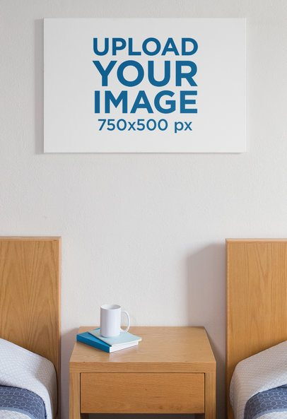 Mockup of a Printed Canvas Between Two Beds 25861