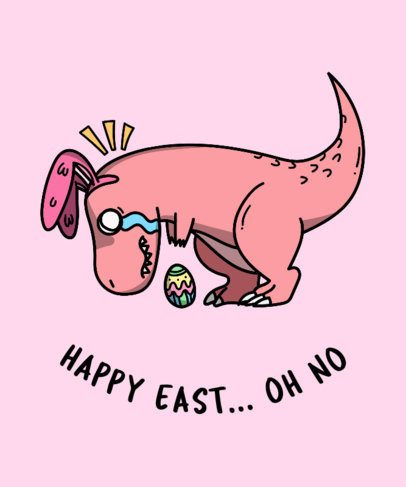T-Shirt Design Template with a Funny Easter Dinosaur Clipart 201f