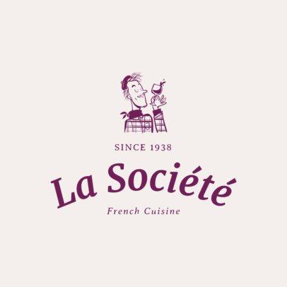 Restaurant Logo Maker Featuring a French Man Illustration 1807b