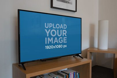 Smart TV Mockup Featuring Wooden Furniture 25850