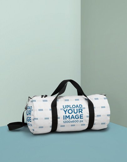 Duffle Bag Mockup Featuring a Duffle Bag Mockup Featuring a Minimal Colored Background 25172