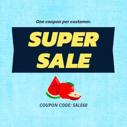 Super Sale Coupon Design Maker with Fruit Illustrations 1029e