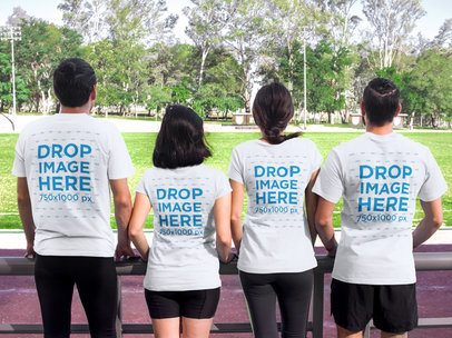 T-Shirt Mockup of a Group of Friends at a Running Track 7852a