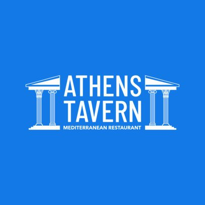 Mediterranean Restaurant Logo Template with a Greek Clipart 1911c