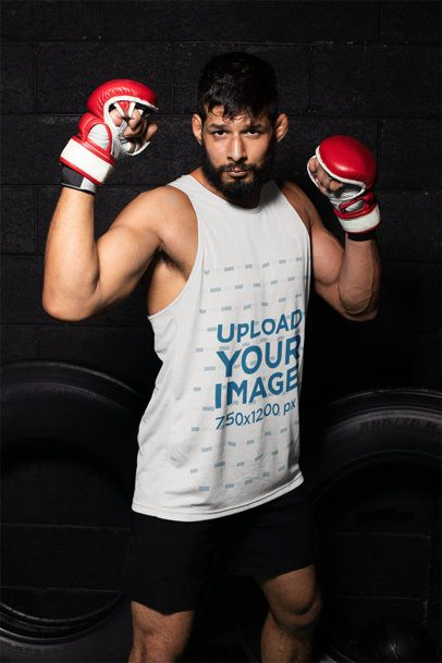 Mockup of a Flexing MMA Fighter in a Tank Top Jersey 26239