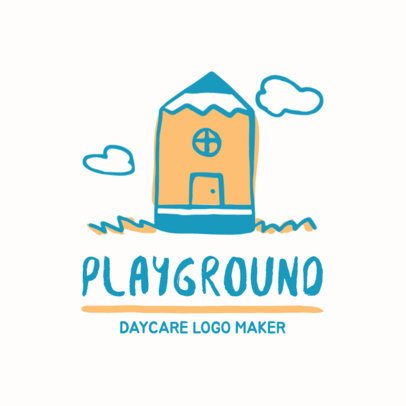 Cute Day Care Logo Template with Hand Drawn Illustrations 1927a