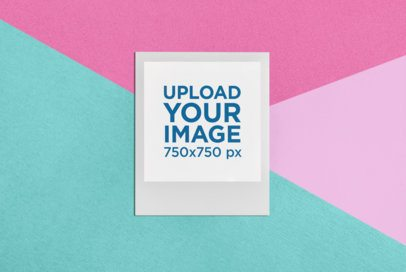 Polaroid Picture Frame Mockup Against a Multicolor Background 26292