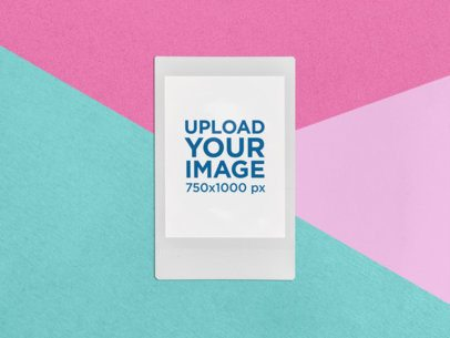 Mockup of an Instax Frame with a Colored Geometric Background 26293