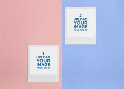 Mockup of Two Polaroid Frames Displayed over a Split-Color Surface 26306